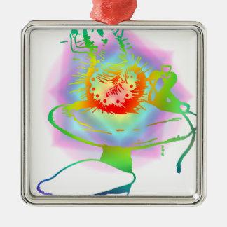 Pschedelic Alice dans des couleurs de Caterpillar Ornement Carré Argenté