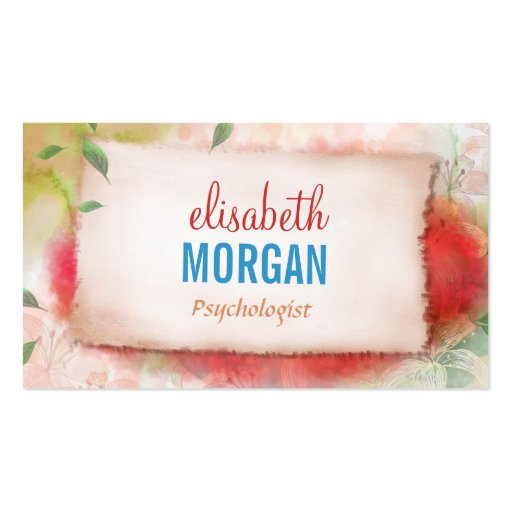 Psychologue - aquarelle d'art florale carte de visite