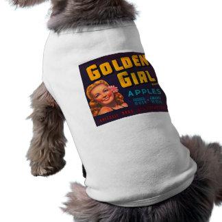 Publicité d'or de cru de pommes de marque de fille t-shirt pour chien