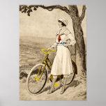 Publicité vintage de bicyclette de femme des année posters