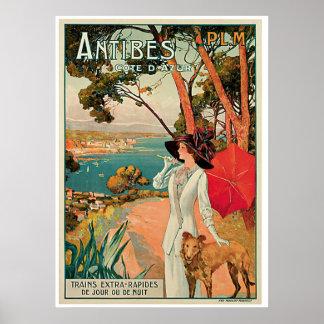 Publicité vintage de voyage d'Antibes France Posters