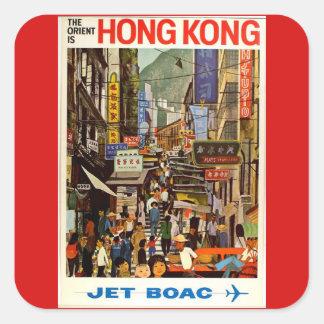 Publicité vintage de voyage de ligne aérienne de sticker carré