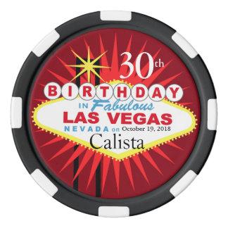 Puce de casino d'anniversaire de Las Vegas Jetons De Poker