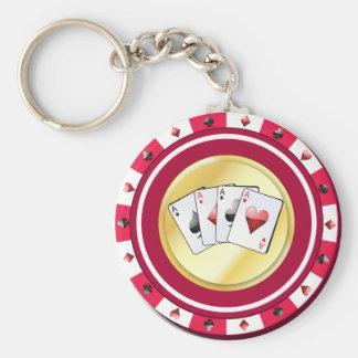 Puce dorée rouge avec le porte - clé d'as porte-clé rond