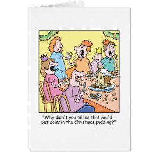 Pudding de bande dessinée de Noël Carte De Vœux