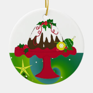 Pudding de Noël Ornement Rond En Céramique