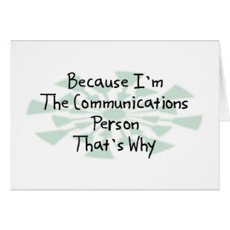 Puisque je suis la personne de communications carte de vœux