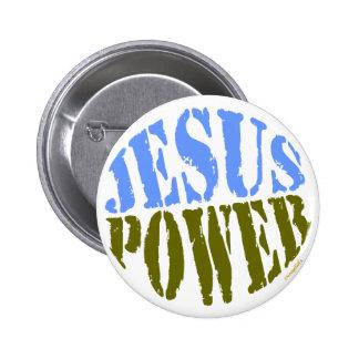 Puissance de Jésus bleue et verte Badge
