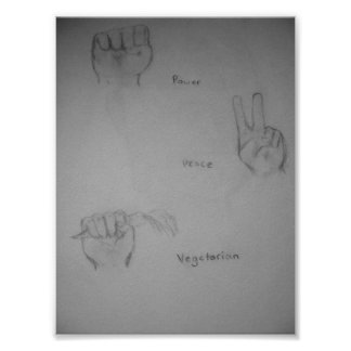 Puissance, paix, affiche végétarienne d'illustrati