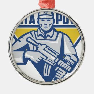 Puissance ukrainienne de junte d'armée ornement rond argenté