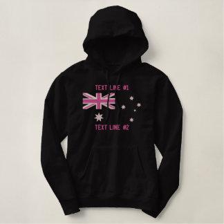 Pull À Capuche Brodé Broderie Girly australienne de drapeau