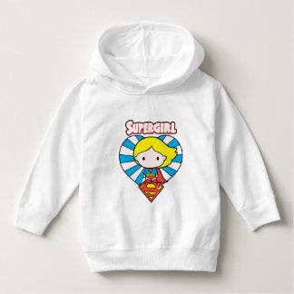 Pull À Capuche Coeur et logo de Chibi Supergirl Starburst