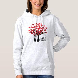 Pull À Capuche Conception rouge mignonne d'arbres de coeurs