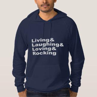 Pull À Capuche Living&Laughing&Loving&ROCKING (blanc)