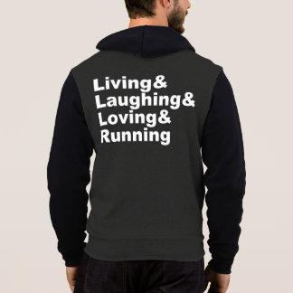 Pull À Capuche Living&Laughing&Loving&RUNNING (blanc)