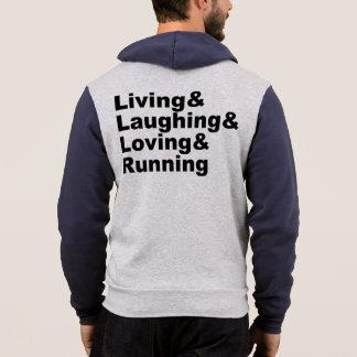 Pull À Capuche Living&Laughing&Loving&RUNNING (noir)