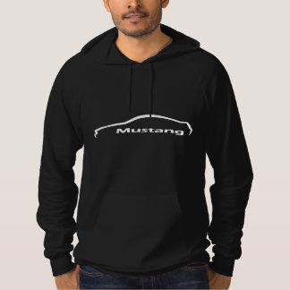 Pull À Capuche Logo blanc de silhouette de mustang