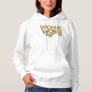 Pull À Capuche Logo d'or d'anniversaire de femme de merveille