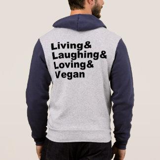 Pull À Capuche Vie et rire et aimer et végétalien (noir)