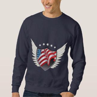 Pull de bouclier de drapeau américain sweat-shirts