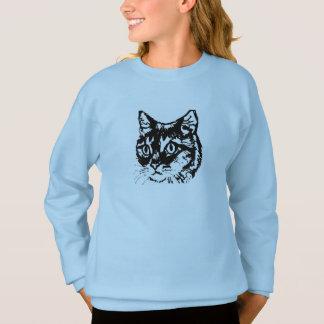 Pullover de filles de visage de chat