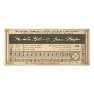 Punchout vintage du billet III de mariage Carton D'invitation 10,16 Cm X 23,49 Cm