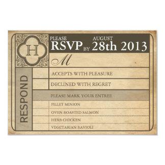 Punchout vintage du billet III de mariage Carton D'invitation 8,89 Cm X 12,70 Cm