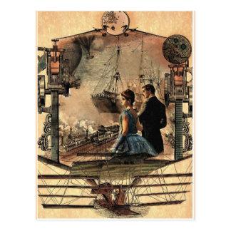 Punk de vapeur, carte postale vintage d'art de