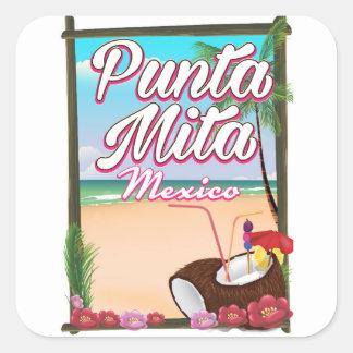Punta Mita, affiche de voyage de plage du Mexique Sticker Carré