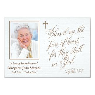 Pur du carte de remerciements d'enterrement de carton d'invitation 8,89 cm x 12,70 cm