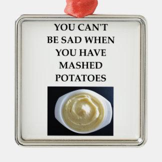 Purée de pommes de terre ornement carré argenté