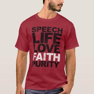 Pureté de foi d'amour de la vie de la parole t-shirt