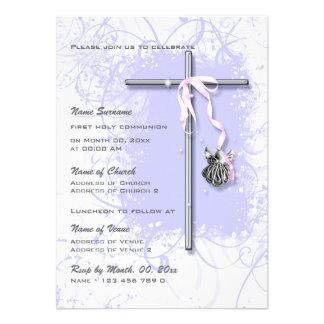Purple baptism religious communion confirmation invitation