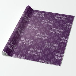 Purple Fleur De Lis Papier Cadeau