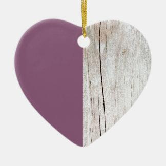 Purple + Wood Ornement Cœur En Céramique