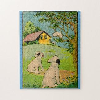 Puzzle 1914 deux chiens et un petit chat blanc