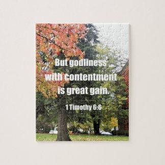 Puzzle 1 6:6 mais piété de Timothy avec la satisfaction