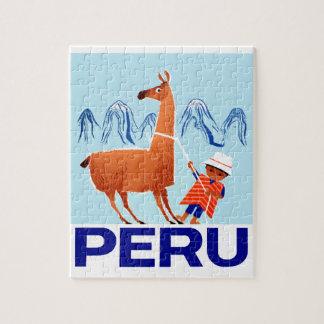 Puzzle Affiche vintage de voyage du Pérou d'enfant et de