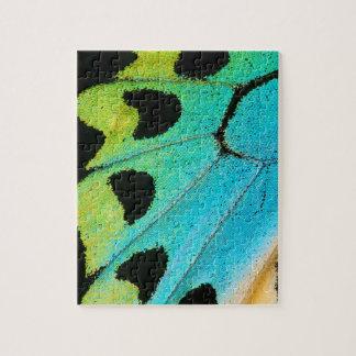 Puzzle aile bleue et verte de papillon
