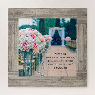 Puzzle Amour de bouquet de fleur et vers de bible de