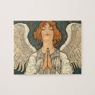 Puzzle Ange religieux vintage priant avec des étoiles