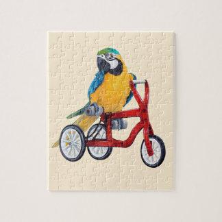Puzzle Ara de perroquet sur le vélo de tricycle