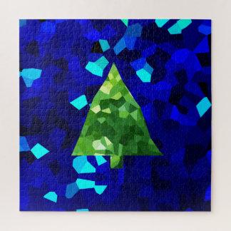Puzzle Arbre de Noël moderne bleu de vacances en verre