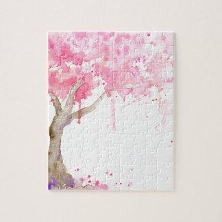 Puzzle Arbre rose abstrait d'aquarelle, cerisier