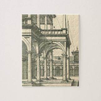 Puzzle Architecture vintage, cour romaine avec des