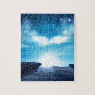 Puzzle Arrière - plan de lever de soleil de montagne de