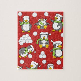 Puzzle Arrière - plan de pingouins de Noël