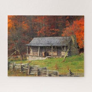 Puzzle Art d'aquarelle d'automne de cabine de pays du