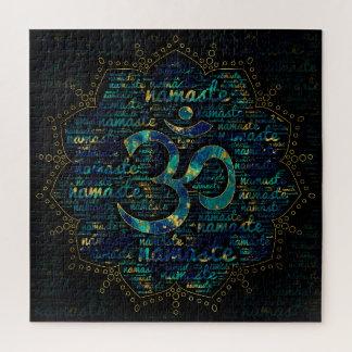 Puzzle Art de mot de Namaste dans Lotus avec le symbole