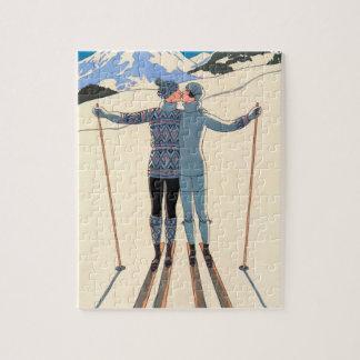Puzzle Art déco vintage, amants dans la neige par George